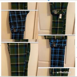 Blue Plaid Pants & Green Plain Pants